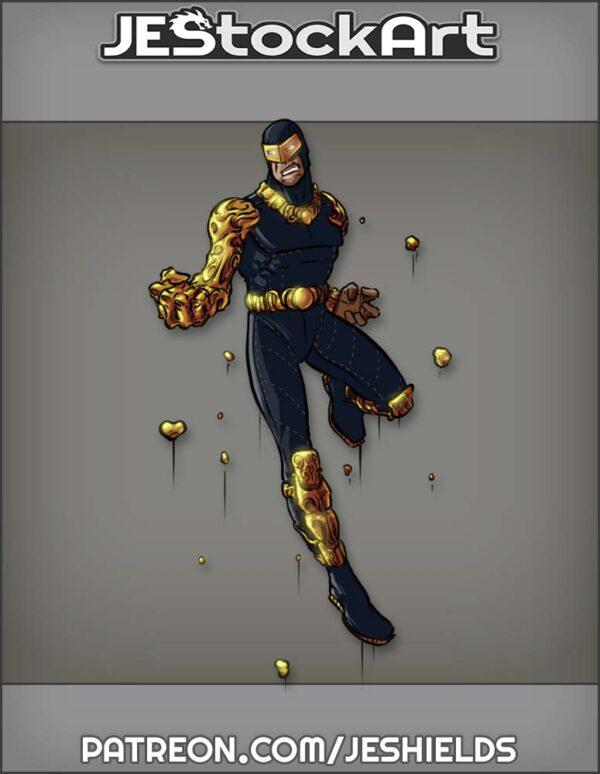 Hero in Dark Suit Controls Gold Metal by Jeshields