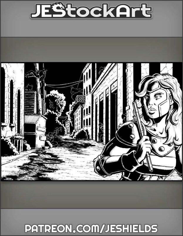 Heroine Trailed By Ninjas In Alley by Jeshields
