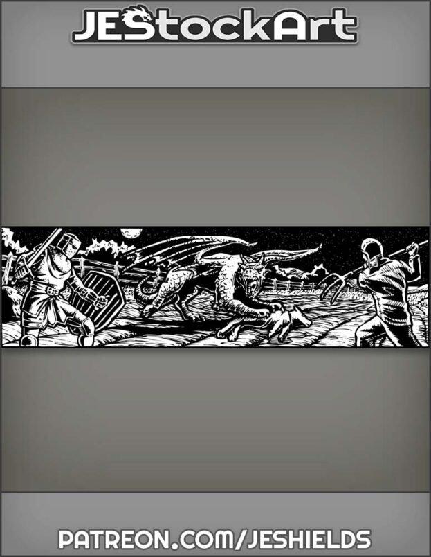 Knight And Farmer Defend Farmland Against Young Dragon by Jeshields
