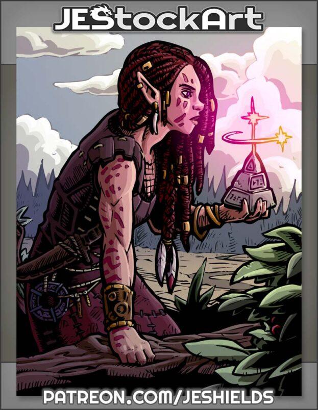 Tattooed Jungle Elf With Mystic Relic by Jeshields
