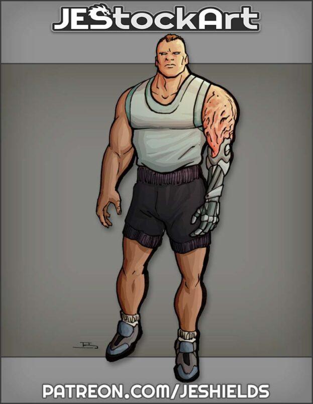 Body Builder With Cybernetic Arm by Jeshields