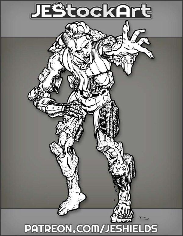 Disfigured Cybernetic Zombie Bursting With Energy by Jeshields