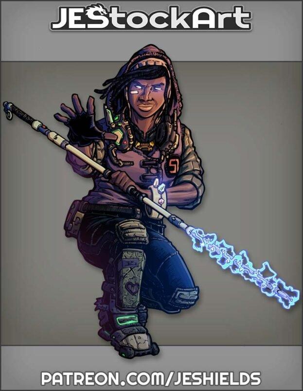 Urban Mystic In Hoodie And Braceket With Energy Staff by Jeshields