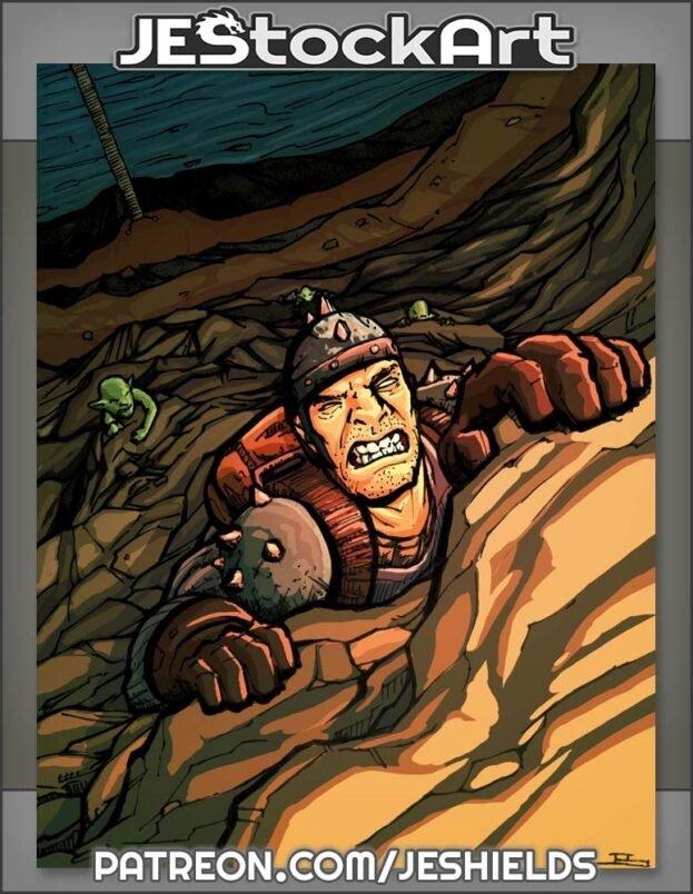 Adventurer Climbing Cliff To Escape by Jeshields