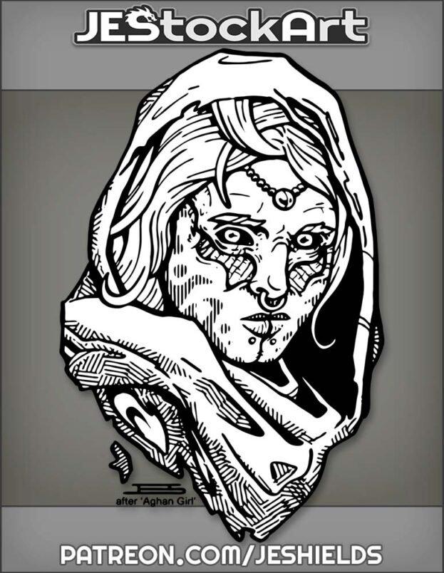 Alien Arabian Woman With Tribal Marks In Ragged Hood by Jeshields