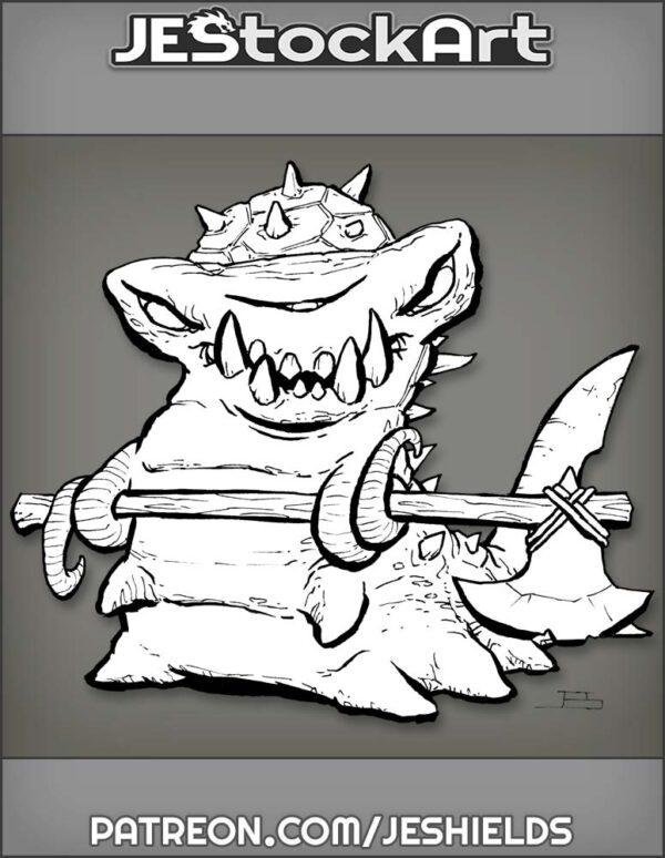 Armored Shark Slug With Battle Axe by Jeshields