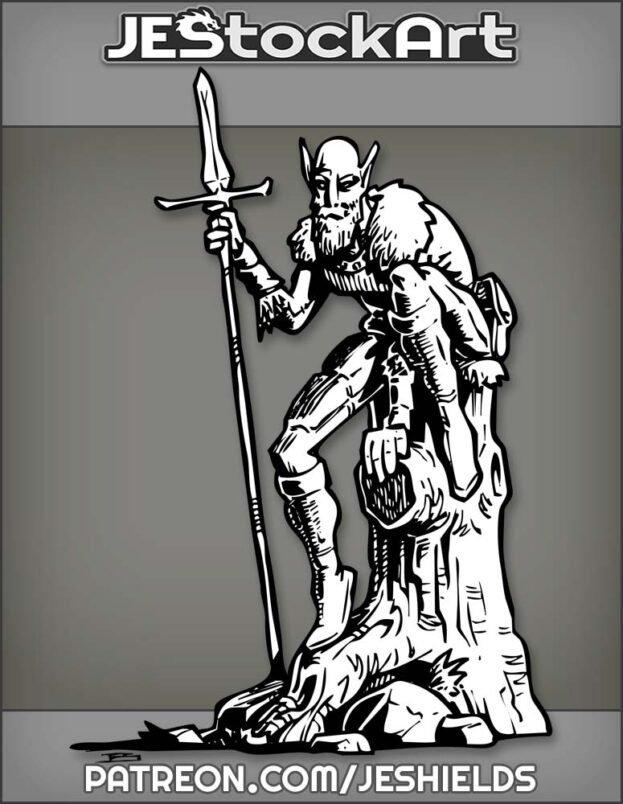 Bearded Elf With Spear On Stump by Jeshields