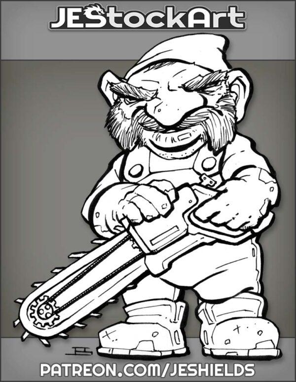 Clockwork Gnome With Chainsaw by Jeshields
