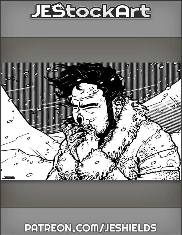 Dark Haired Man In Fur Coat With Frostbite In Blizzard by Jeshields