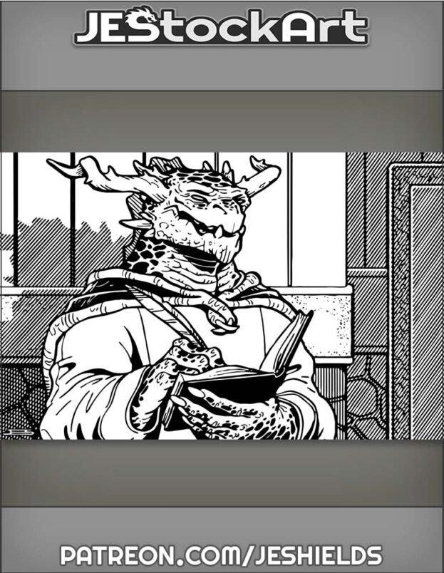 Dark Scaled Dragon Scribe With Writing Utensil Near Wall by Jeshields