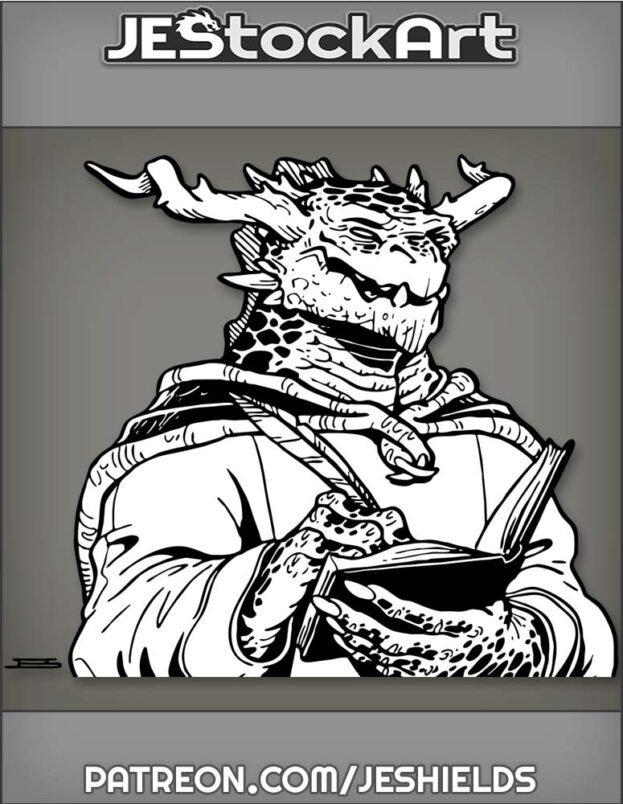 Dark Scaled Dragon Scribe With Writing Utensil by Jeshields