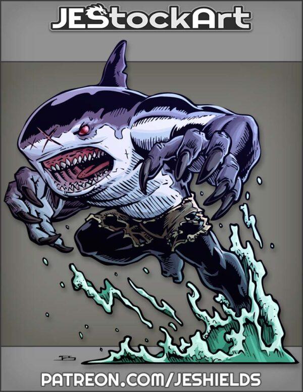 Dark Were Shark With Claws In Shorts Pursuing Prey by Jeshields