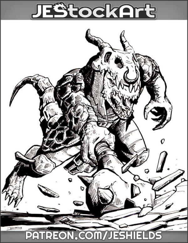 Draconian Lizard Man With Mace by Jeshields
