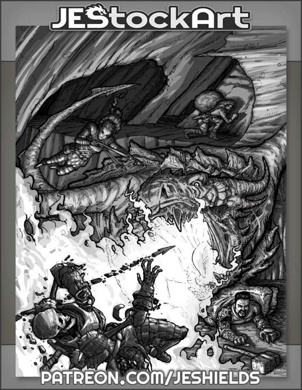 Dragon Versus Adventurers by Jeshields