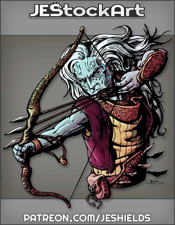 Elemental Elven Archer Firing Triple Shot by Jeshields