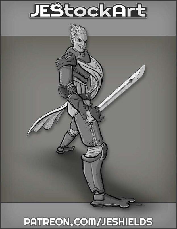 Elven Swordsman in Frog Armor by Jeshields