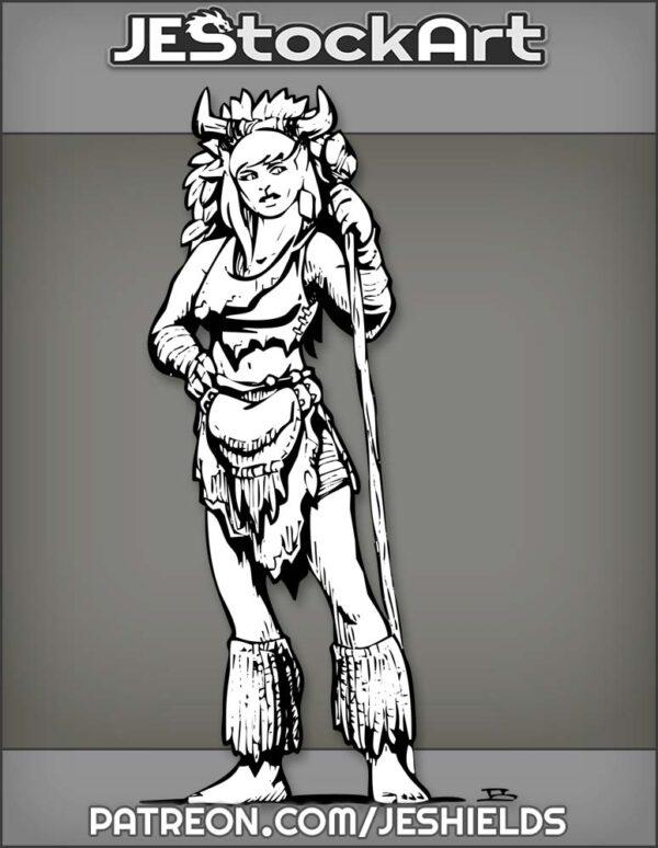 Female Druid Feline Humanoid With Staff And Horned Headdress by Jeshields