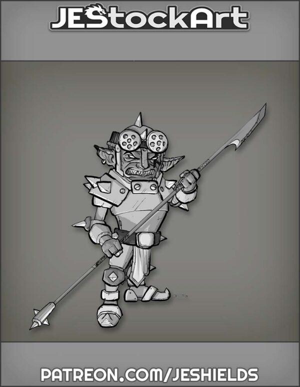 Fierce Goblin in Armor with Spear by Jeshields