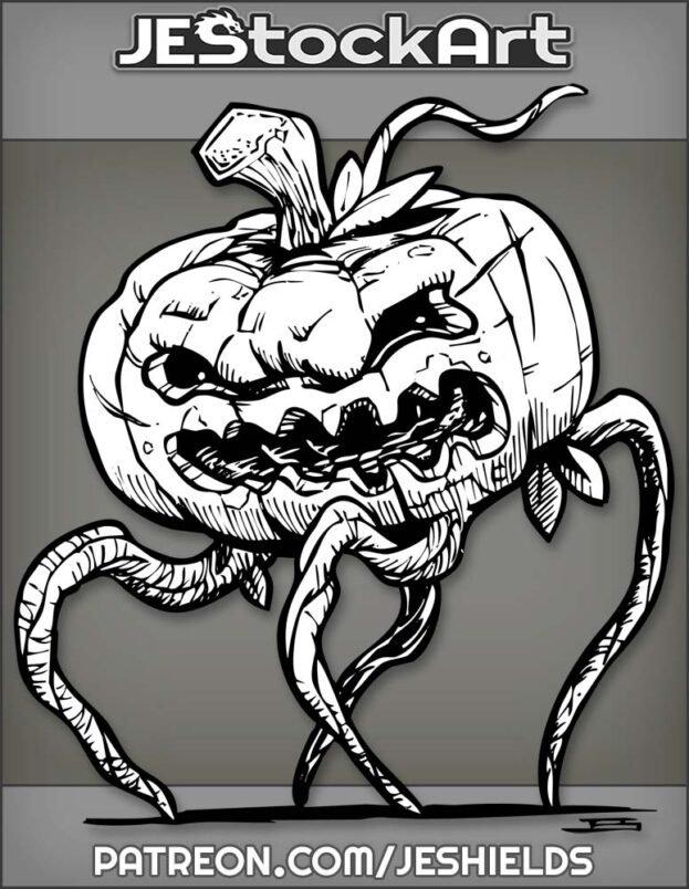 Four Legged Jack O Lantern Pumpkin Creature With Vine Legs by Jeshields