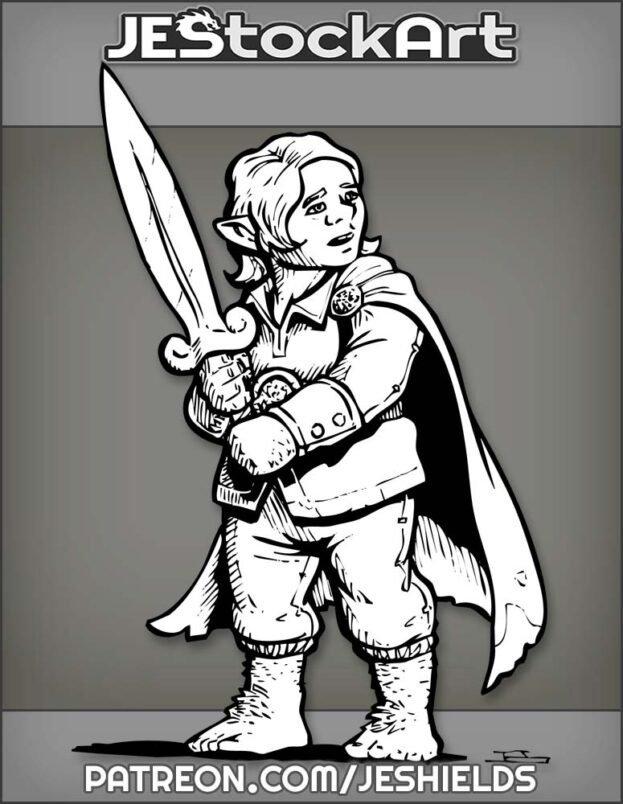 Friendly Halfling Adventurer With Cape Wields Short Sword In Both Hands by Jeshields