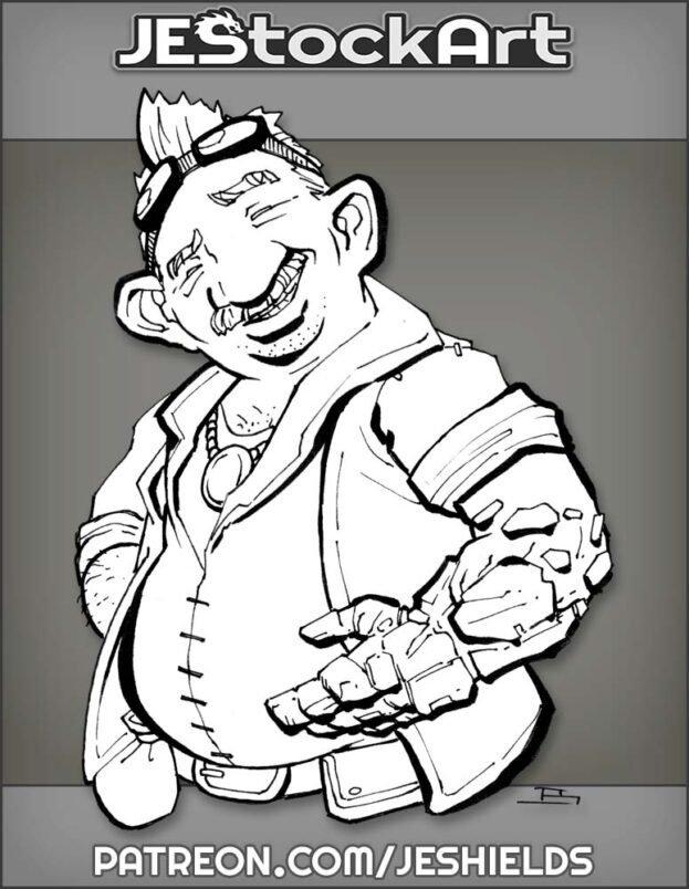Gnome Salesman with Prosthetic Arm by Jeshields