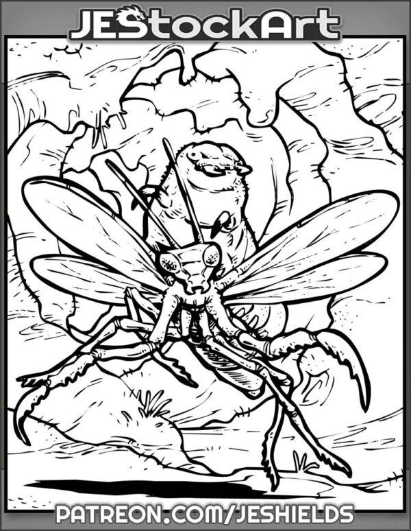 Grub Rides Atop Praying Mantis Mount In Flesh Cave by Jeshields