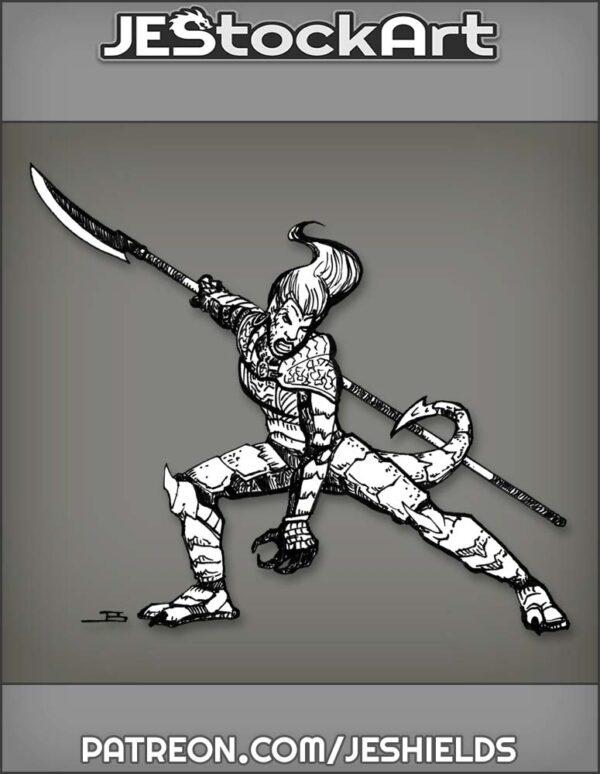 Half Dragon Lady In Oriental Armor by Jeshields