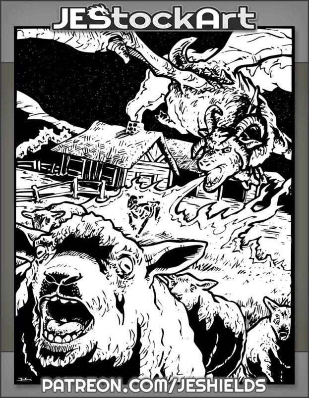 Hybrid Sheep Dragon Terrorizes Farmstead by Jeshields