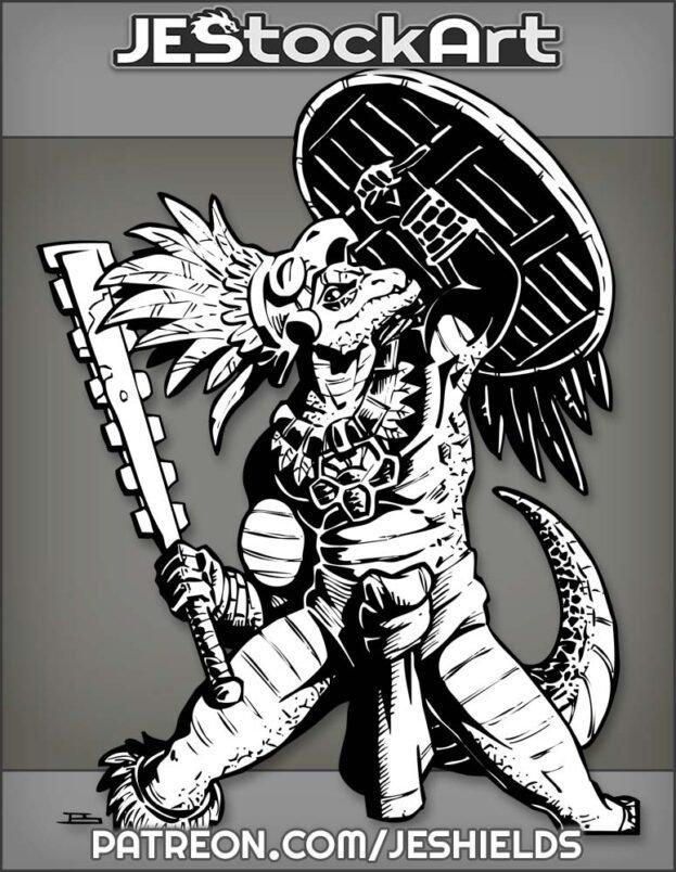 Lizardman With Aztec Eagle Warrior Gear by Jeshields