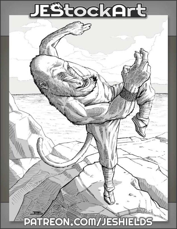 Monkey Warrior on Mountaintop by Jeshields