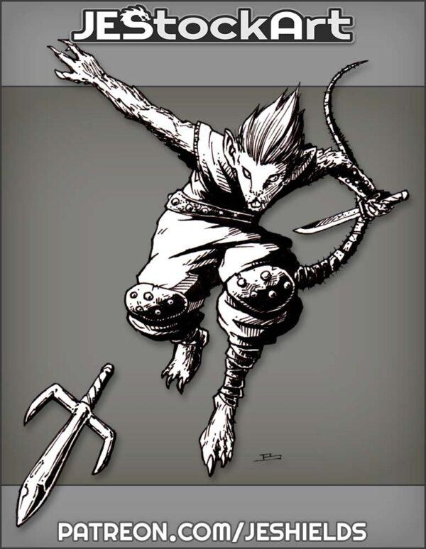 Mouse Ninja With Sword Throwing Sai by Jeshields