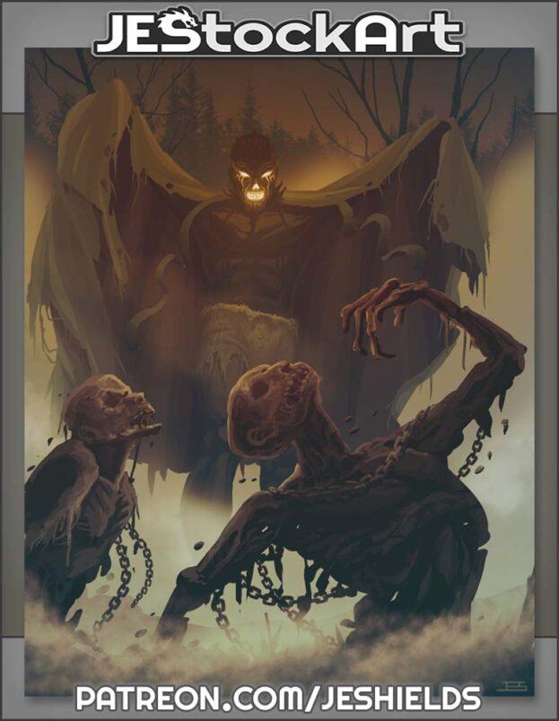 Necromancer With Flowing Face Raises The Dead by D P