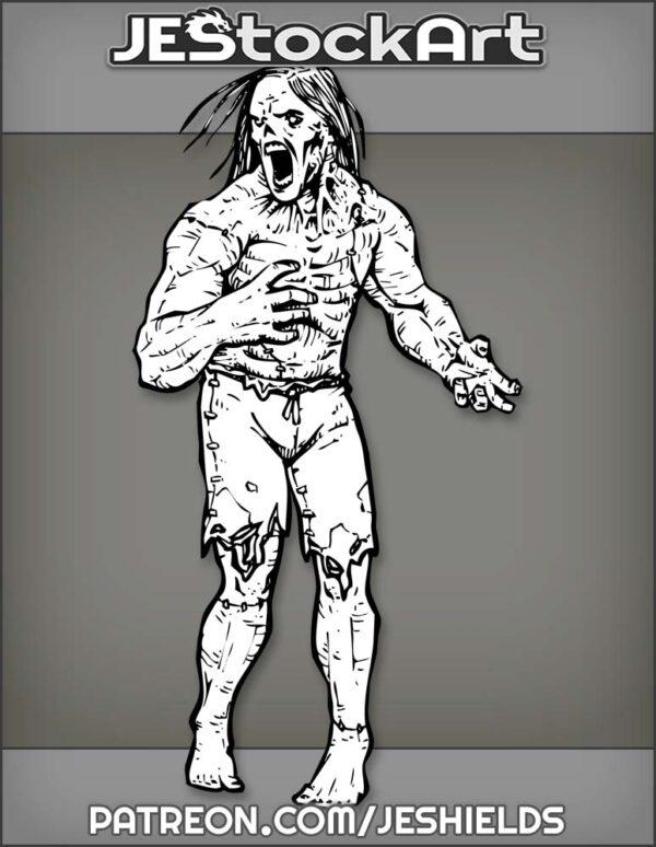 Patchwork Frankenstein Zombie Screaming In Shorts by Jeshields