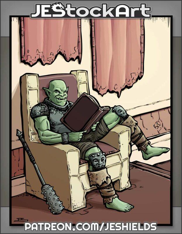 Relaxed Hobgoblin Enjoying Book On Throne by Jeshields