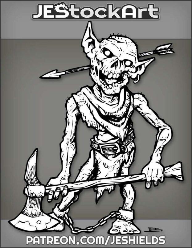 Rotting Goblin Zombie With Axe And Arrow Thru Head by Jeshields