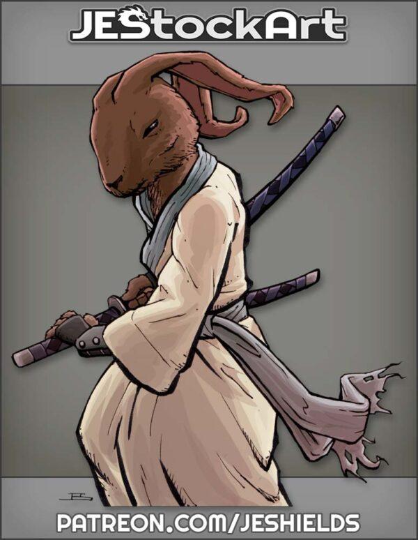 Samurai Rabbit In Gi Drawing A Sword by Jeshields
