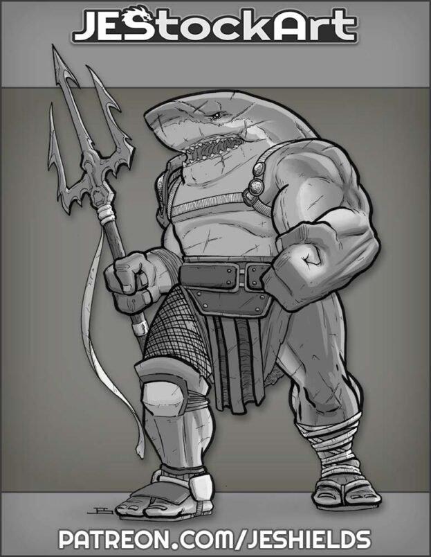 Shark Gladiator with Trident by Jeshields