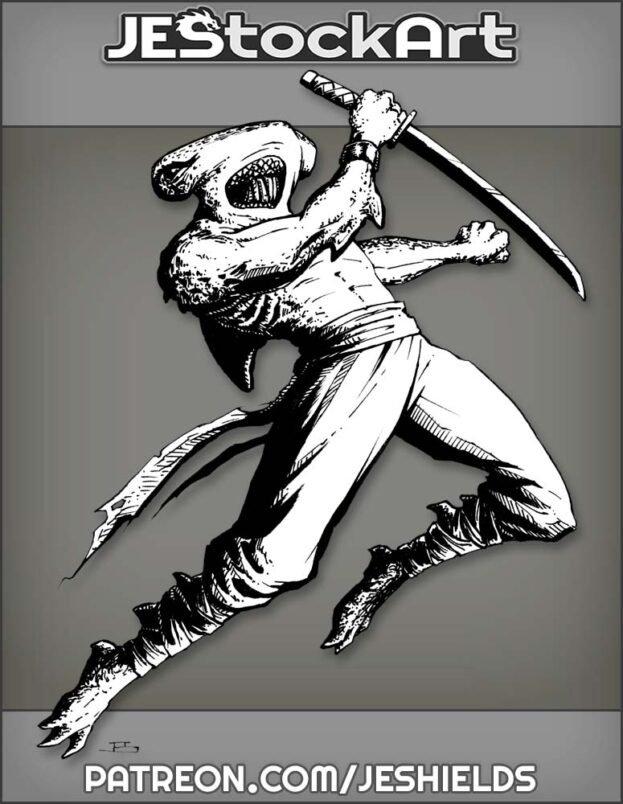 Shark Ninja Leaping With Sword by Jeshields