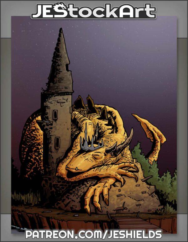 Sleeping Dragon King On Castle Ruins by Jeshields
