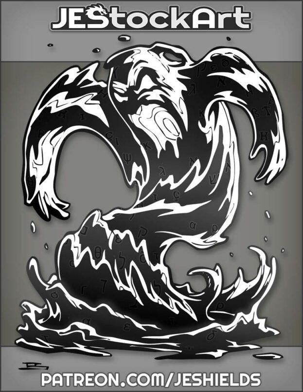 Swirling Black Liquid Elemental Roars In Menacing Pose With Glyphs by Jeshields