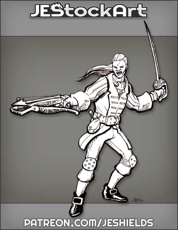 Swordsman In Fancy Garb With Crossbow by Jeshields