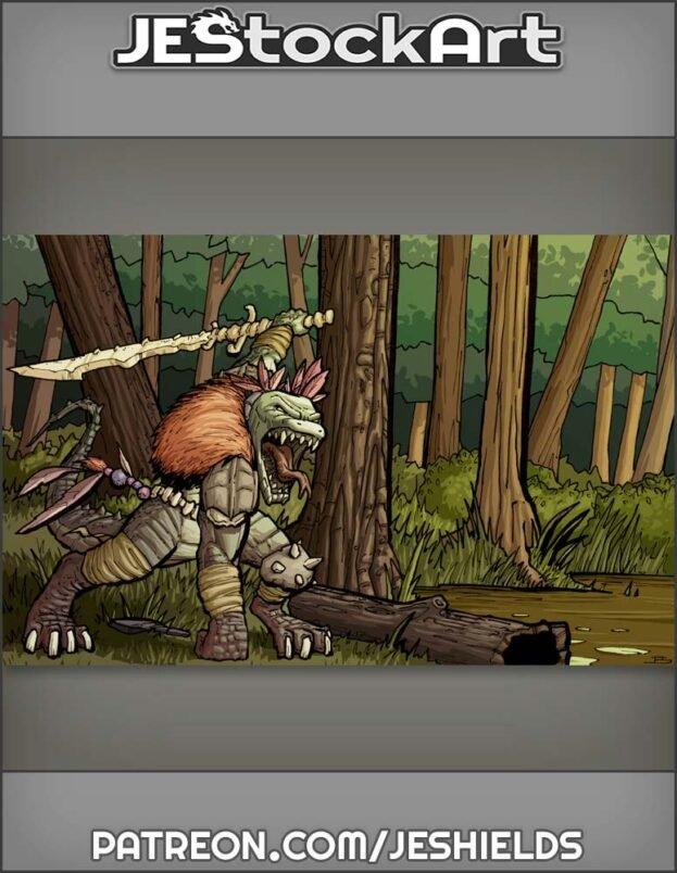Tribal Lizardman Chief With Bone Sword In Swamp by Jeshields