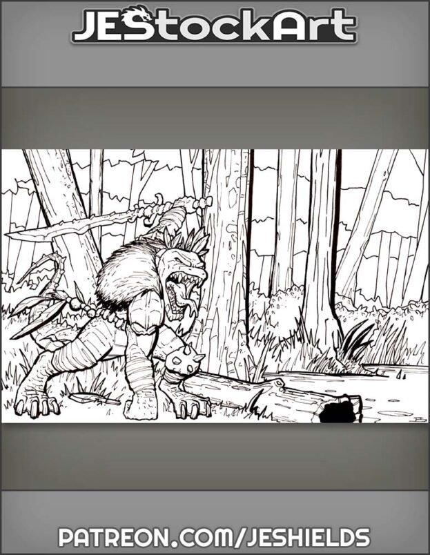 Tribal Lizardman Chief With Bone Sword In Swamp by LW
