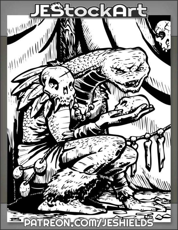 Tribal Snakeman Shaman Reading Bones In Tent by Jeshields