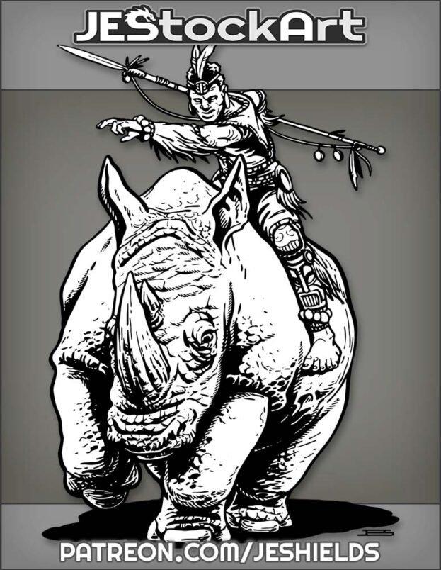 Tribal Wizard With Staff Riding Rhinoceros Mount by Jeshields