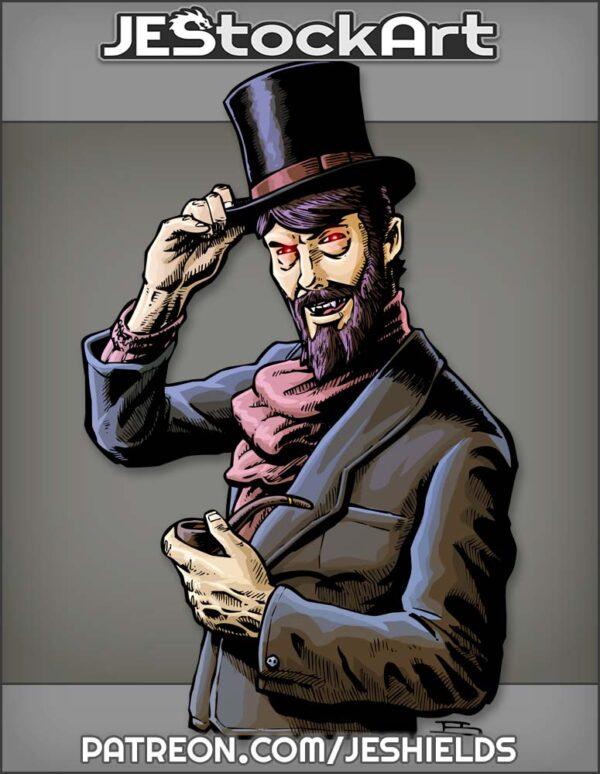 Vampiric Gentleman In Top Hat With Beard by Jeshields