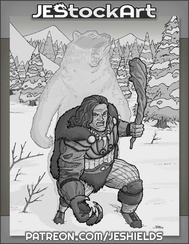 Werebear Barbarian in Snow by Jeshields