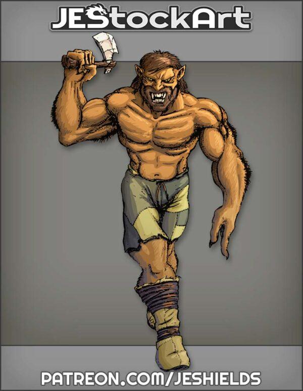Wolf Man With Stone Ax by Jeshields