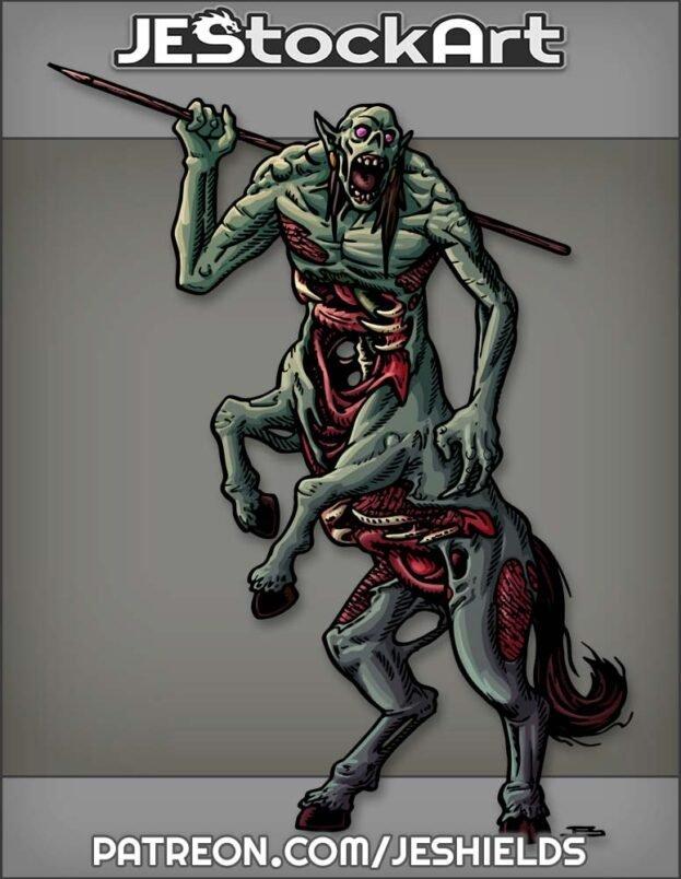 Zombie Centaur Yelling With Spear by Jeshields