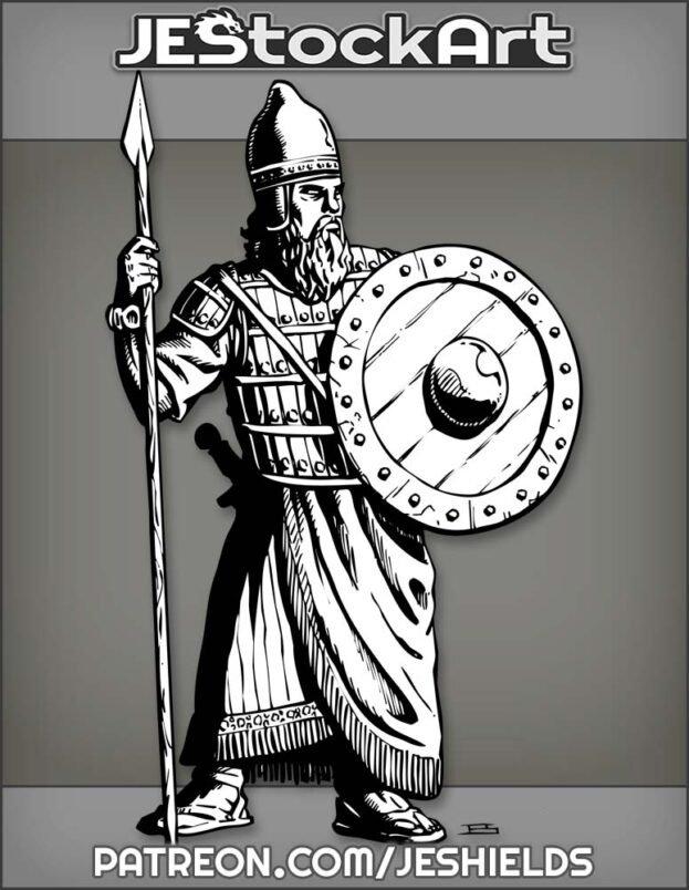 Mesopotamian Warrior With Spear And Shield by Jeshields